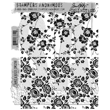 Tim Holtz Cling Rubber Stamps VINES AND ROSES CMS298