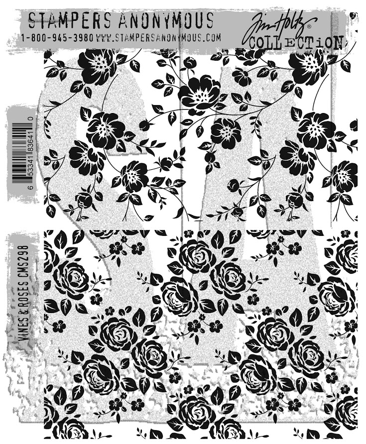 Tim Holtz Cling Rubber Stamps VINES AND ROSES CMS298 zoom image