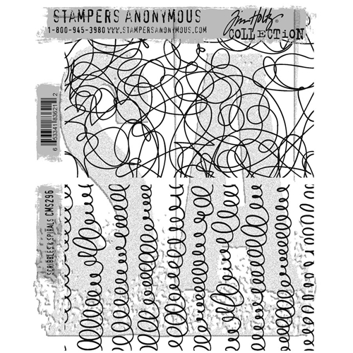 Tim Holtz Cling Rubber Stamps SCRIBBLES AND SPIRALS CMS296 Preview Image