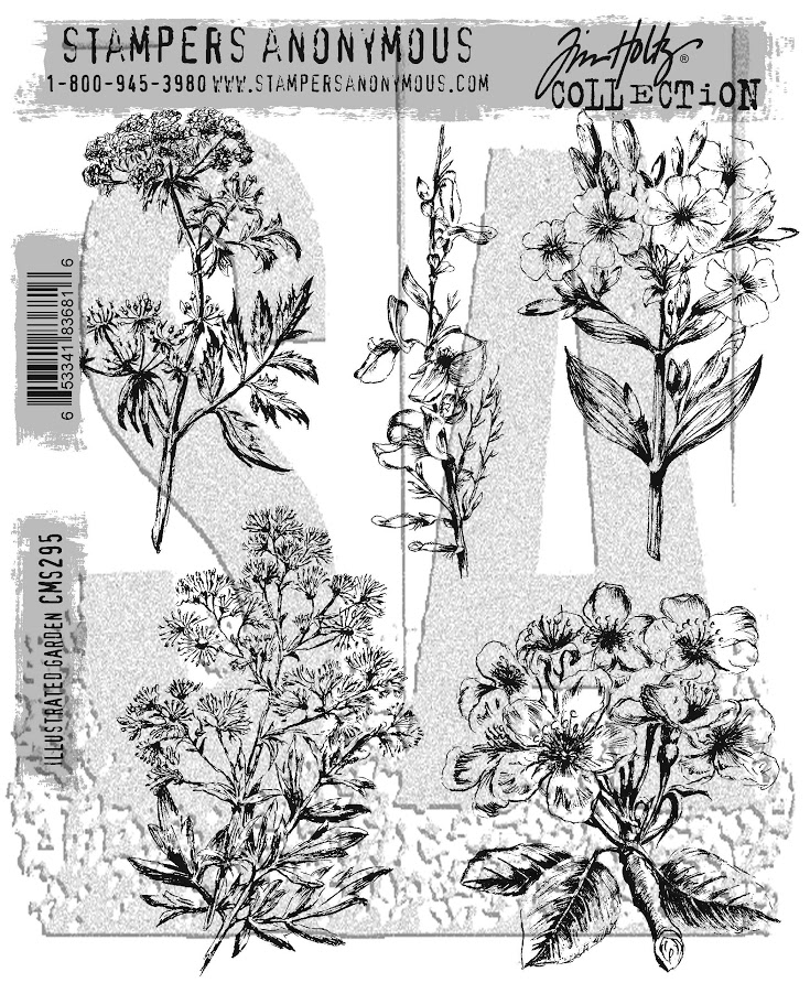 Tim Holtz Cling Rubber Stamps ILLUSTRATED GARDEN CMS295 zoom image