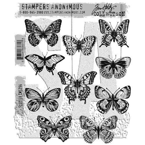 Tim Holtz Cling Rubber Stamps FLUTTER CMS294 Preview Image