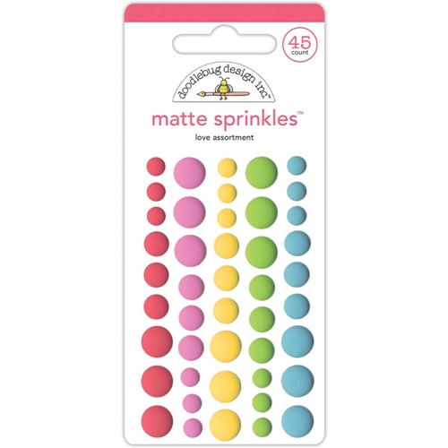 Doodlebug LOVE Matte Sprinkles Adhesive Enamel Dots Cream and Sugar 5454 Preview Image