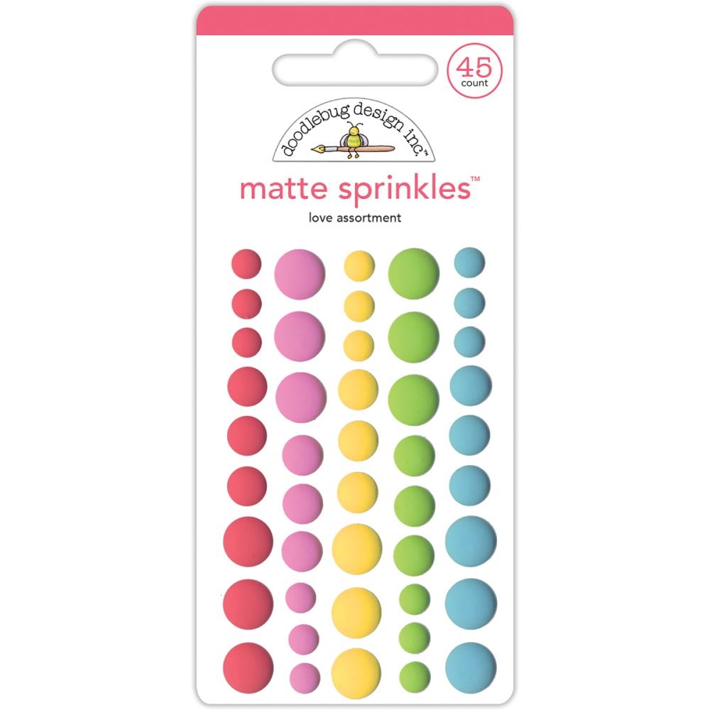 Doodlebug LOVE Matte Sprinkles Adhesive Enamel Dots Cream and Sugar 5454 zoom image