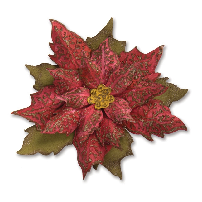 Tim Holtz Sizzix LAYERED TATTERED POINSETTIA Bigz Die With Texture Fades 662170 zoom image