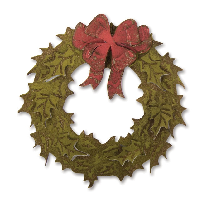 Tim Holtz Sizzix LAYERED HOLIDAY WREATH Bigz Die With Texture Fades 662169 zoom image