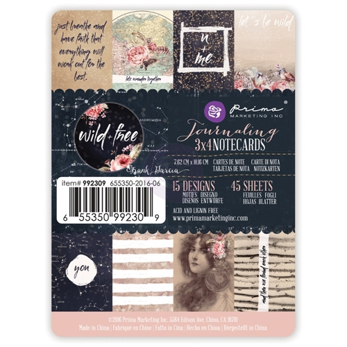 Prima Marketing WILD AND FREE 3 X 4 Journaling Notecards 992309* Preview Image
