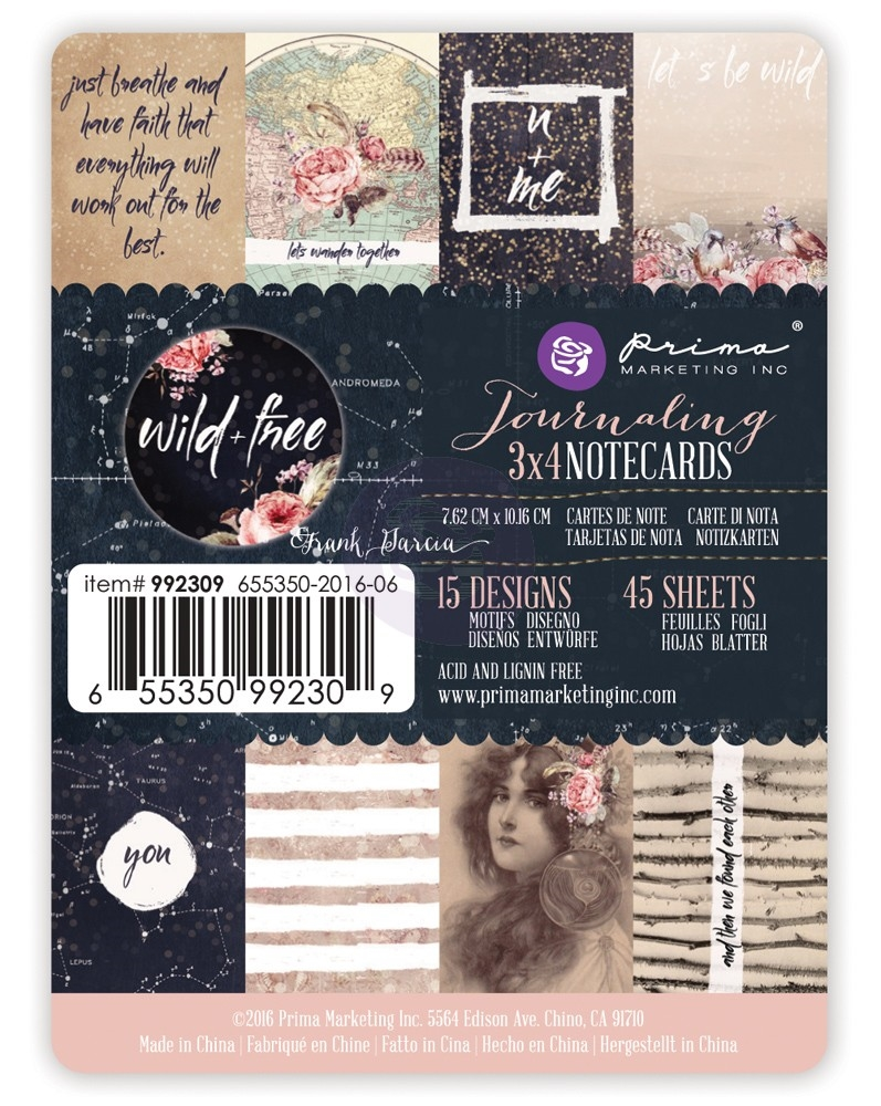 Prima Marketing WILD AND FREE 3 X 4 Journaling Notecards 992309* zoom image