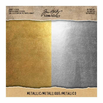 Tim Holtz Idea-ology 8 x 8 Paper Stash METALLIC KRAFT STOCK TH93586