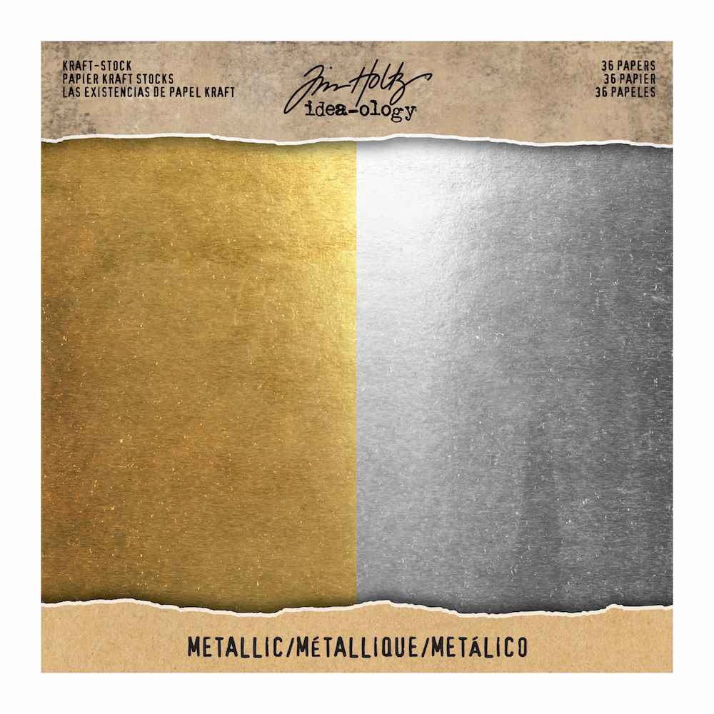 Tim Holtz Idea-ology 8 x 8 Paper Stash METALLIC KRAFT STOCK TH93586 zoom image
