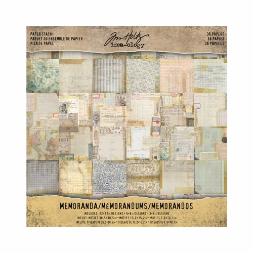 Tim Holtz Idea-ology 12 x 12 Paper Stash MEMORANDA Paperie TH93550 Preview Image