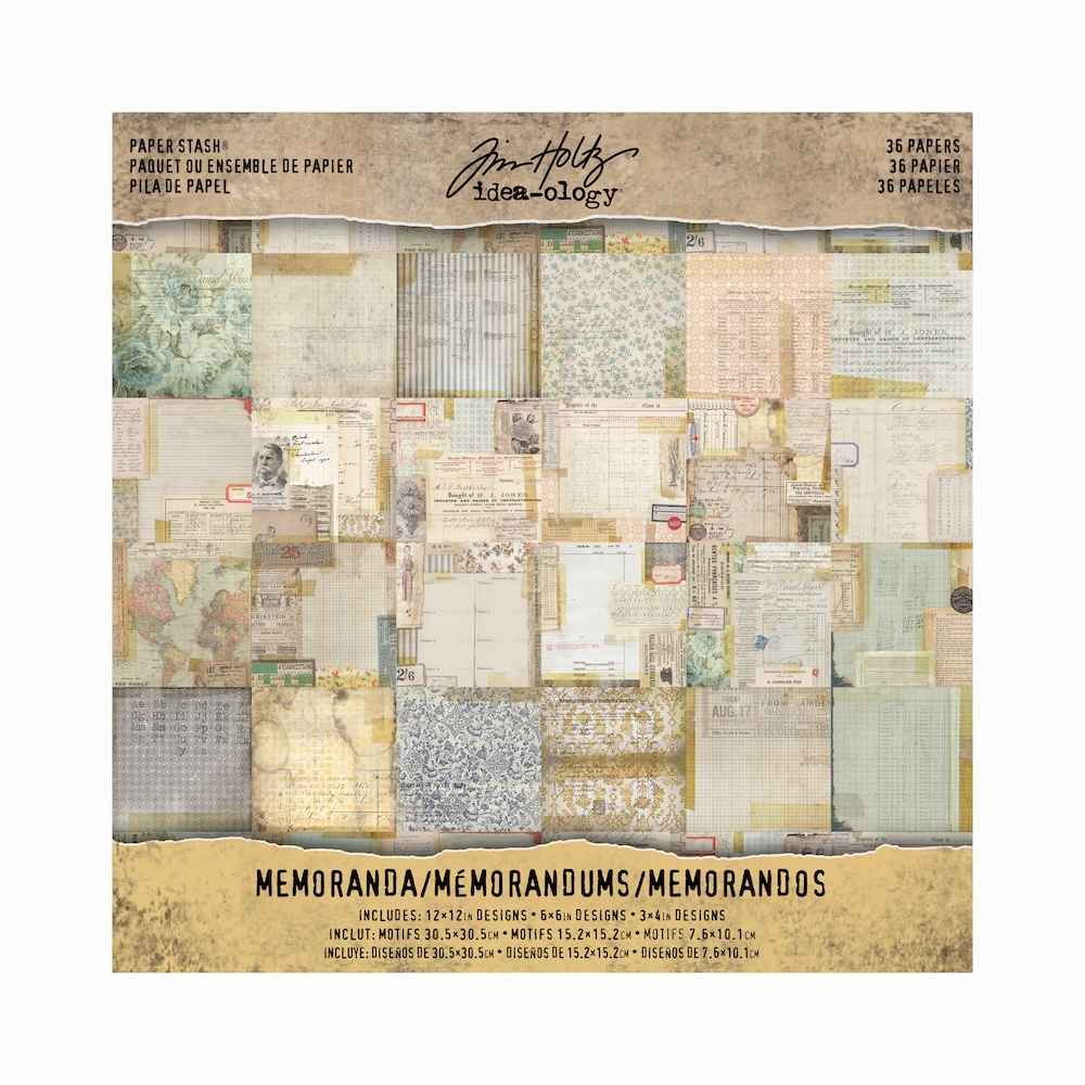 Tim Holtz Idea-ology 12 x 12 Paper Stash MEMORANDA Paperie TH93550 zoom image