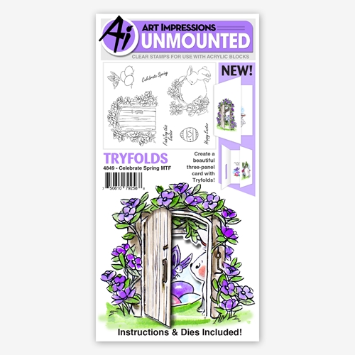 Art Impressions CELEBRATE SPRING Tryfolds Clear Stamps 4849 Preview Image