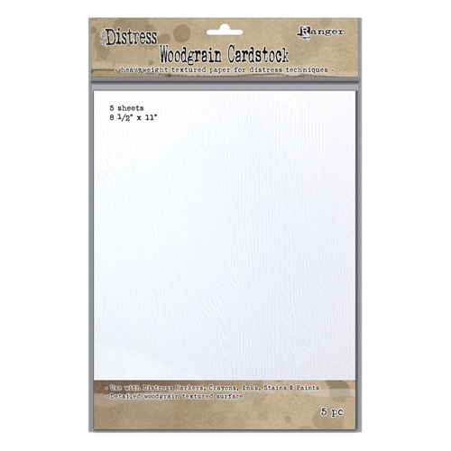 Tim Holtz 8.5 X 11 DISTRESS WOODGRAIN CARDSTOCK Ranger Ink TDA57826 Preview Image