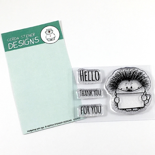 Gerda Steiner Designs HEDGEHOG WITH SIGN Clear Stamp Set GSD522 Preview Image