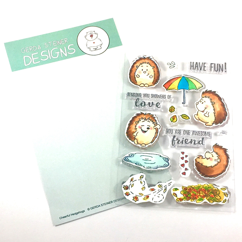 Gerda Steiner Designs CHEERFUL HEDGEHOG Clear Stamp Set GSD491 zoom image