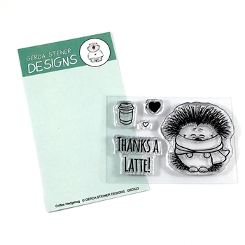 Gerda Steiner Designs HEDGEHOG WITH COFFEE Clear Stamp Set GSD523