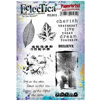 Paper Artsy ECLECTICA3 LIN BROWN 31 Rubber Cling Stamp ELB31*