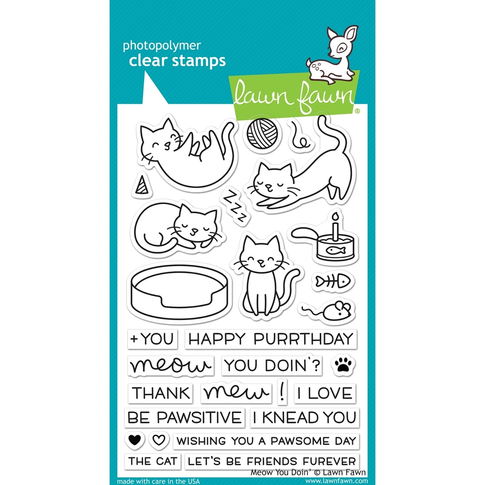 Lawn Fawn MEOW YOU DOIN' Clear Stamps LF1315 zoom image