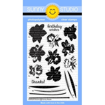Sunny Studio DAFFODIL DREAMS Clear Stamp Set SSCL 155