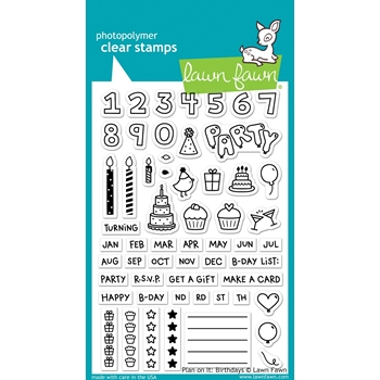 Lawn Fawn PLAN ON IT BIRTHDAY Clear Stamps LF1340*