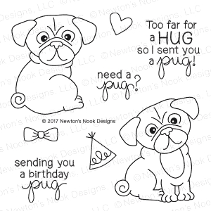 Newton's Nook Designs PUG HUGS Clear Stamp Set 20170103 zoom image