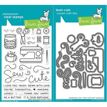 Lawn Fawn SET LF17SETSWL SEWN WITH LOVE Clear Stamps and Dies