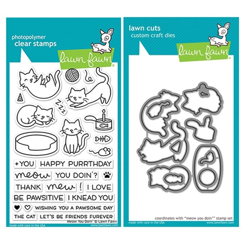 Lawn Fawn SET LF17SETMYD MEOW YOU DOIN' Clear Stamps and Dies Preview Image