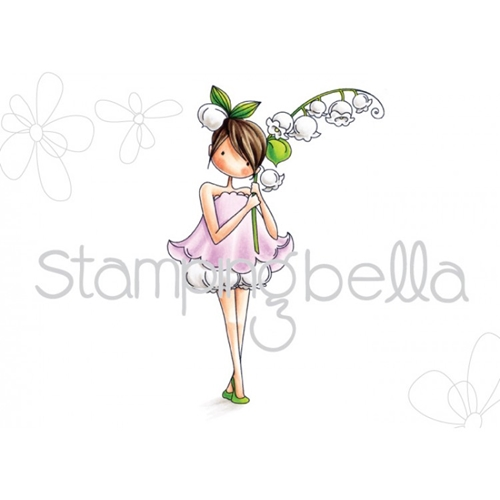 Stamping Bella Cling Stamp TINY TOWNIE GARDEN GIRL LILY OF THE VALLEY Rubber UM EB449* Preview Image