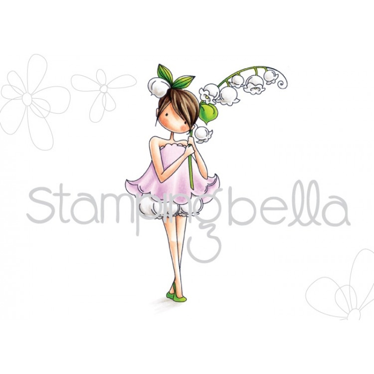 Stamping Bella Cling Stamp TINY TOWNIE GARDEN GIRL LILY OF THE VALLEY Rubber UM EB449* zoom image