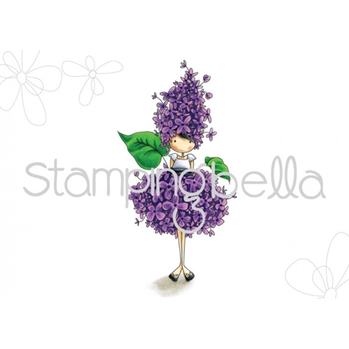 Stamping Bella Cling Stamp TINY TOWNIE GARDEN GIRL LILAC Rubber UM EB451 Preview Image