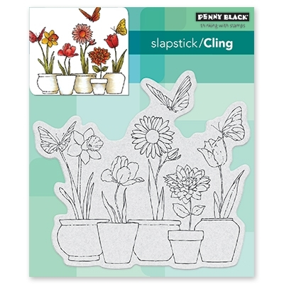 Penny Black Cling Stamp POTTED FLOWERS 40 518 Preview Image