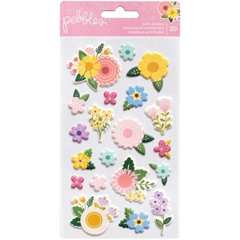 Pebbles Inc. FLOWERS Puffy Icon Stickers Tealightful 733542*