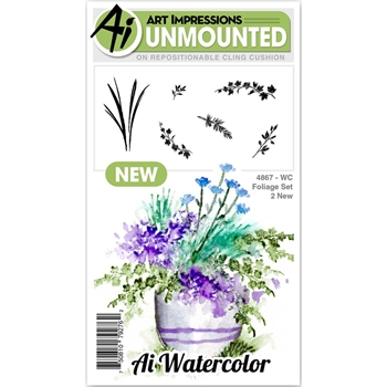 Art Impressions Watercolor FOLIAGE 2 SET Cling Rubber Stamps 4867