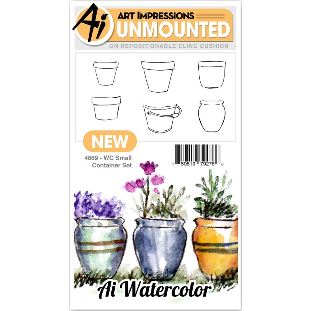 Art Impressions Watercolor SMALL CONTAINER SET Cling Rubber Stamps 4869 zoom image
