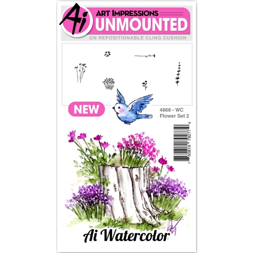 Art Impressions Watercolor FLOWER 2 SET Cling Rubber Stamps 4868 Preview Image