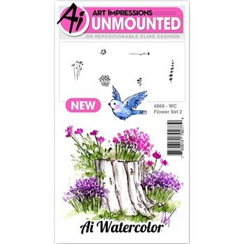 Art Impressions Watercolor FLOWER 2 SET Cling Rubber Stamps 4868