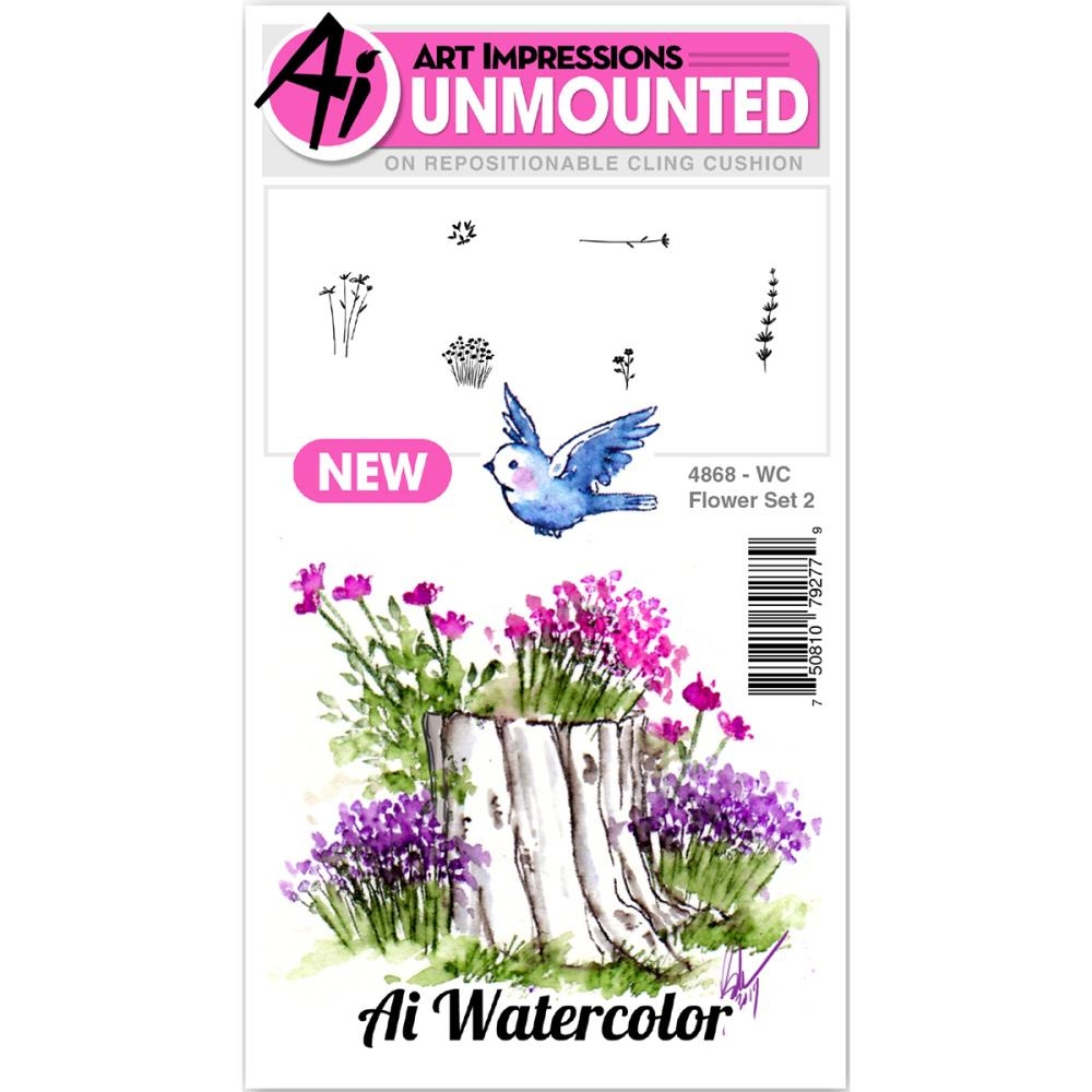 Art Impressions Watercolor FLOWER 2 SET Cling Rubber Stamps 4868 zoom image