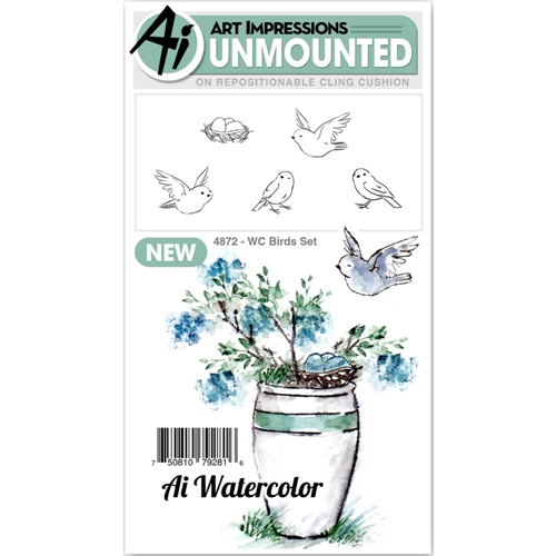 Art Impressions Watercolor BIRDS SET Cling Rubber Stamps 4872* Preview Image