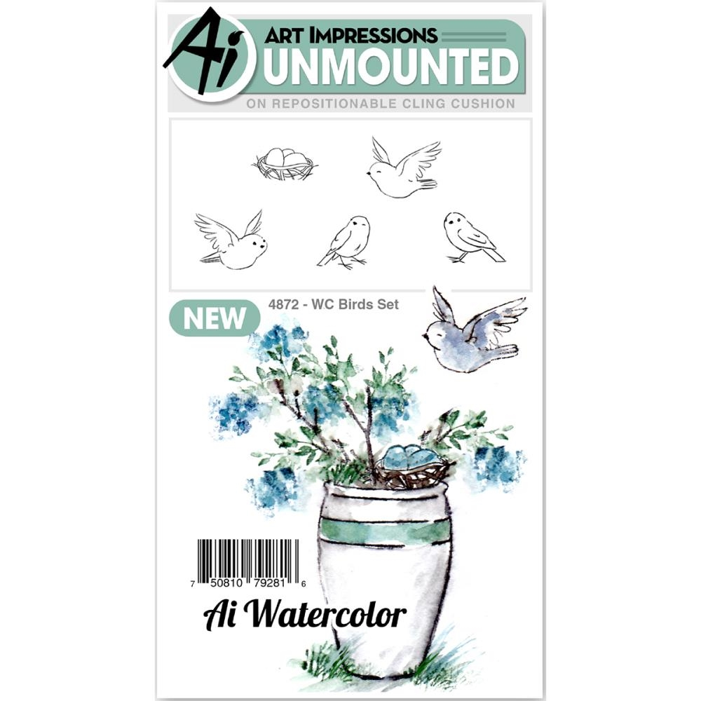 Art Impressions Watercolor BIRDS SET Cling Rubber Stamps 4872* zoom image