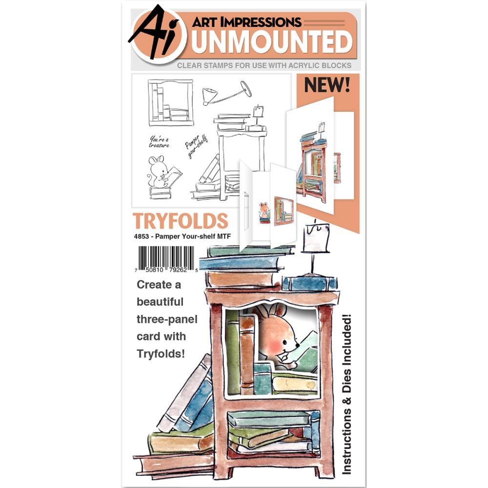 Art Impressions PAMPER YOUR-SHELF Mini Tryfolds Clear Stamps and Dies 4853 zoom image