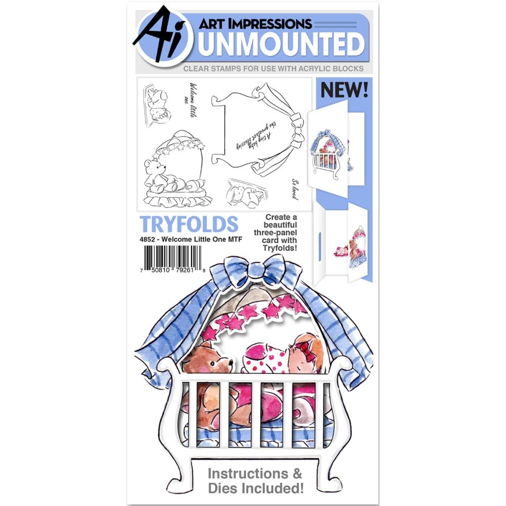 Art Impressions WELCOME LITTLE ONE Mini Tryfolds Clear Stamps and Dies 4852* zoom image