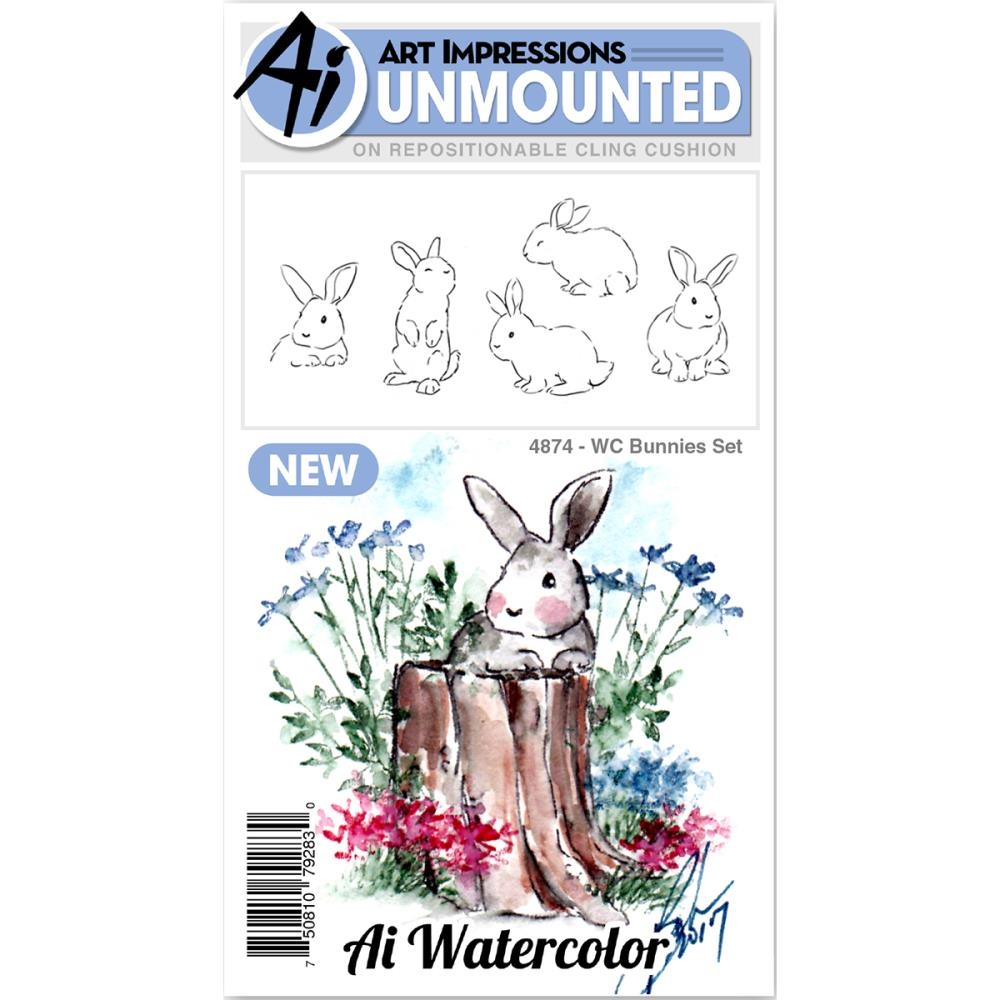 Art Impressions Watercolor BUNNIES Set Cling Rubber Stamps 4874 zoom image