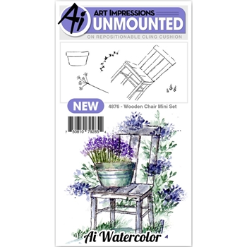 Art Impressions Watercolor WOODEN CHAIR MINI SET Cling Rubber Stamps 4876*