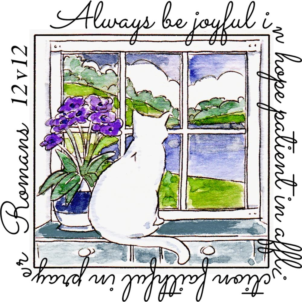 Art Impressions BE JOYFUL WINDOW To The World Clear Stamp 4877 zoom image