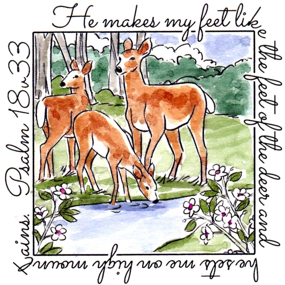Art Impressions DEER WINDOW To The World Cling Rubber Stamp M4879* zoom image