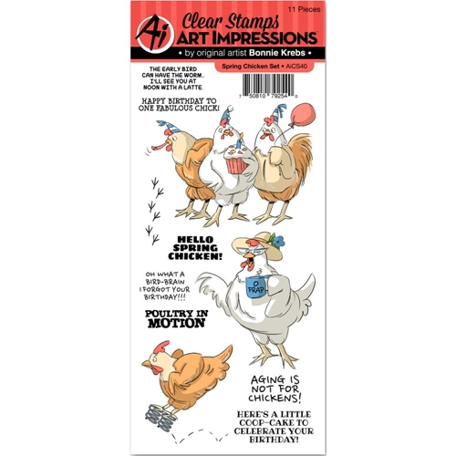 Art Impressions SPRING CHICKEN Clear Stamp Set AICS40 Preview Image