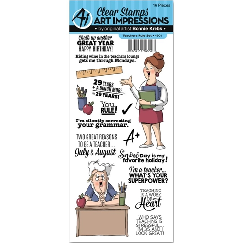 Art Impressions TEACHERS RULE Clear Stamp Set 4901* Preview Image