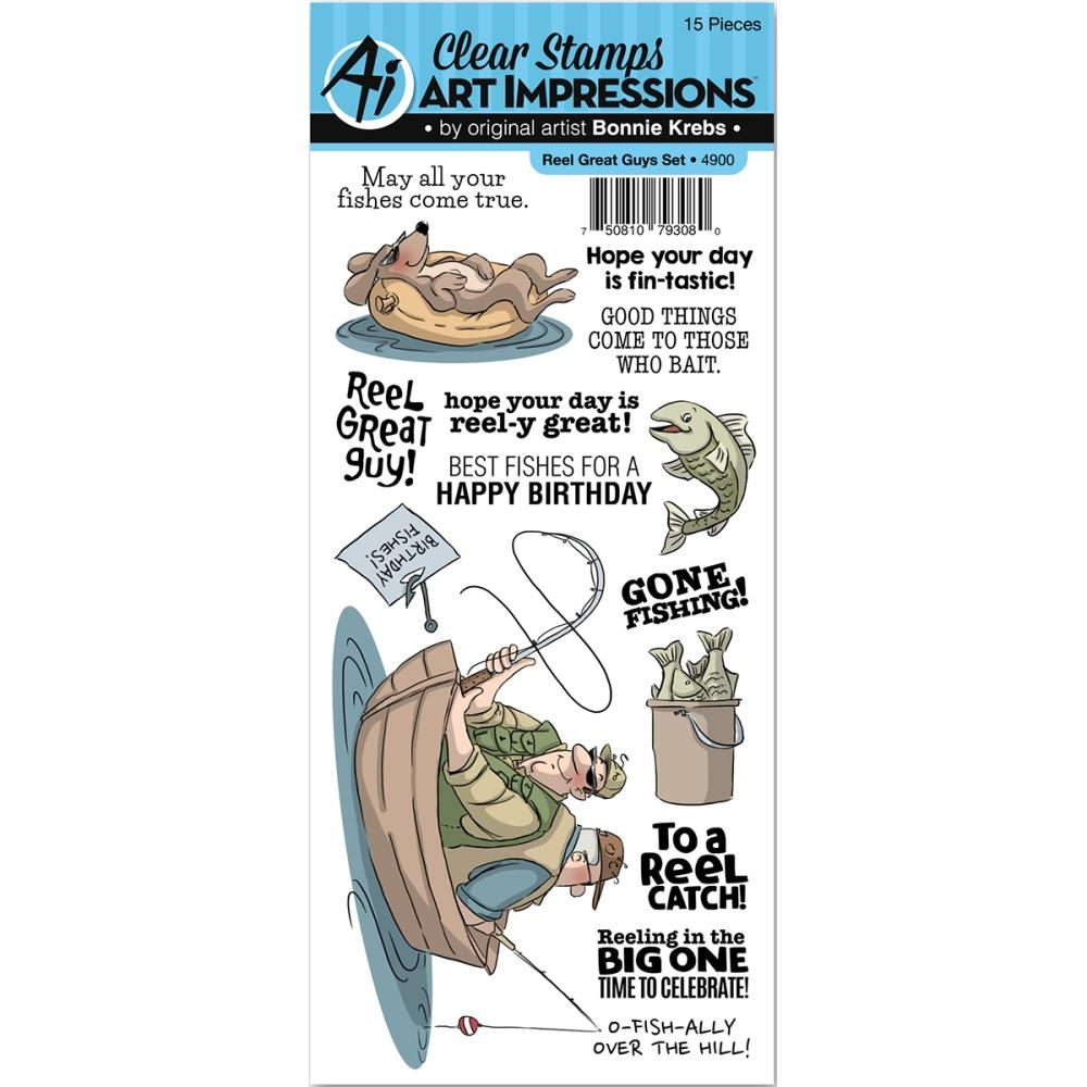 Art Impressions REEL GREAT GUYS Clear Stamp Set 4900 zoom image