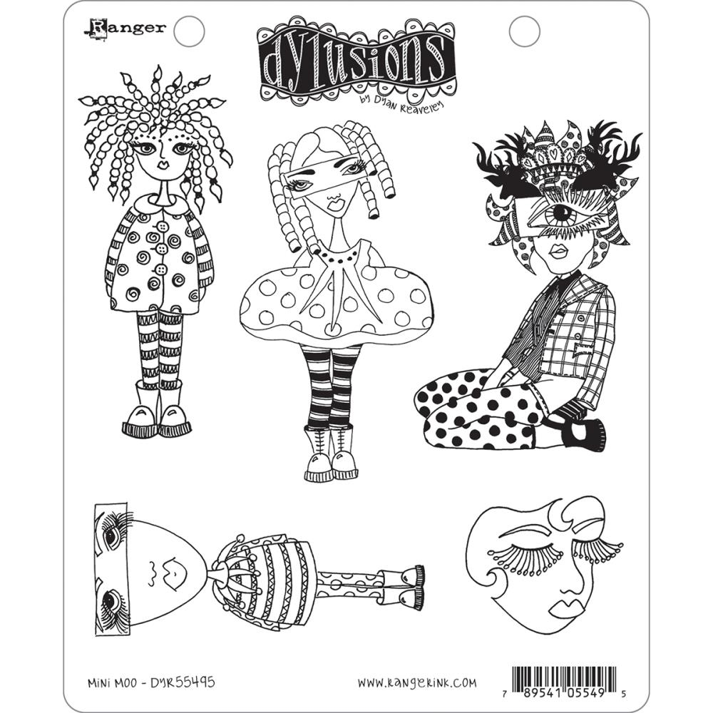 Dyan Reaveley MINI MOO Cling Stamp Set Dylusions DYR55495 zoom image