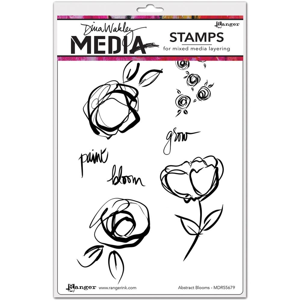 Dina Wakley ABSTRACT BLOOMS Media Cling Rubber Stamp MDR55679 zoom image